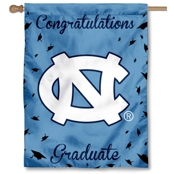 North Carolina Tar Heels Congratulations Graduate Flag measures 30x40 inches, is made of poly, has a top hanging sleeve, and offers dye sublimated North Carolina Tar Heels logos. This Decorative North Carolina Tar Heels Congratulations Graduate House Flag is officially licensed by the NCAA.