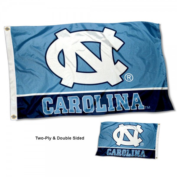North Carolina Tar Heels Double Sided Flag measures 3'x5', is made of 2 layer 100% polyester, has quadruple stitched flyends for durability, and is readable correctly on both sides. Our North Carolina Tar Heels Double Sided Flag is officially licensed by the university, school, and the NCAA.