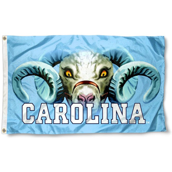 North Carolina Tar Heels Eyes Logo Flag measures 3x5 feet, is made of 100% polyester, offers quadruple stitched flyends, has two metal grommets, and offers screen printed NCAA team logos and insignias. Our North Carolina Tar Heels Eyes Logo Flag is officially licensed by the selected university and NCAA.