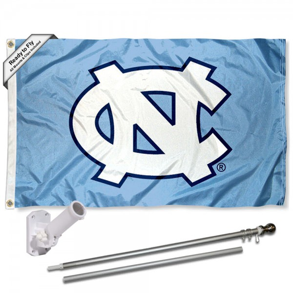 Our North Carolina Tar Heels Flag Pole and Bracket Kit includes the flag as shown and the recommended flagpole and flag bracket. The flag is made of polyester, has quad-stitched flyends, and the NCAA Licensed team logos are double sided screen printed. The flagpole and bracket are made of rust proof aluminum and includes all hardware so this kit is ready to install and fly.