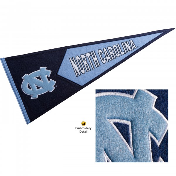 North Carolina Tar Heels Genuine Wool Pennant consists of our full size 13x32 inch Winning Streak Sports wool college pennant. The logos, lettering and insignia is quality embroidered and appliqued, feature a alternate logo color header, and has sewn wool perimeter. This North Carolina Tar Heels College Pennant Pennant is Officially Licensed and University Approved with Overnight Next Day Shipping.