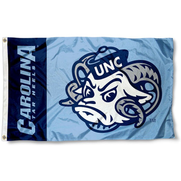 North Carolina Tar Heels Mascot Flag measures 3'x5', is made of 100% poly, has quadruple stitched sewing, two metal grommets, and has double sided North Carolina Tar Heels Mascot logos. Our North Carolina Tar Heels Mascot Flag is officially licensed by the selected university and the NCAA.