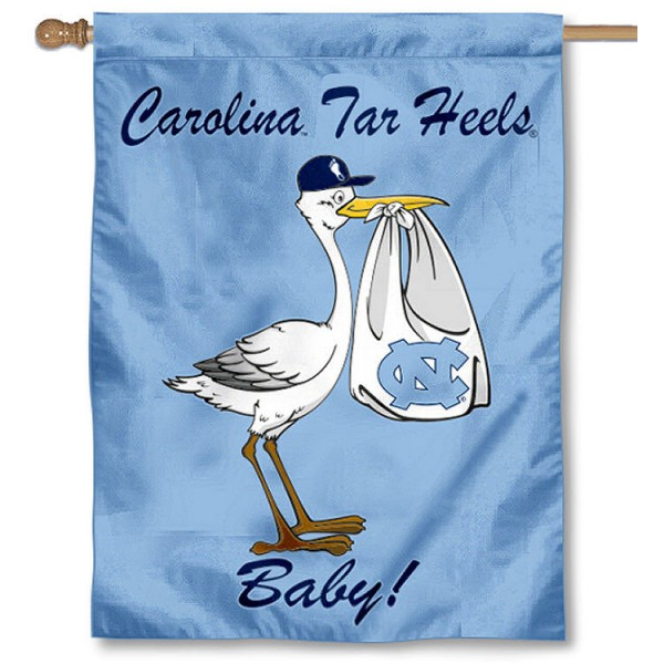 North Carolina Tar Heels New Baby Flag measures 30x40 inches, is made of poly, has a top hanging sleeve, and offers dye sublimated University of North Carolina logos. This Decorative University of North Carolina House Flag is Genuine Merchandise.