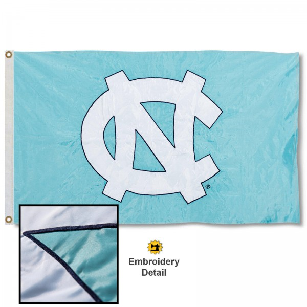 North Carolina Tar Heels Nylon Embroidered Flag measures 3'x5', is made of 100% nylon, has quadruple flyends, two metal grommets, and has double sided appliqued and embroidered University logos. These North Carolina Tar Heels 3x5 Flags are officially licensed by the selected university and the NCAA.