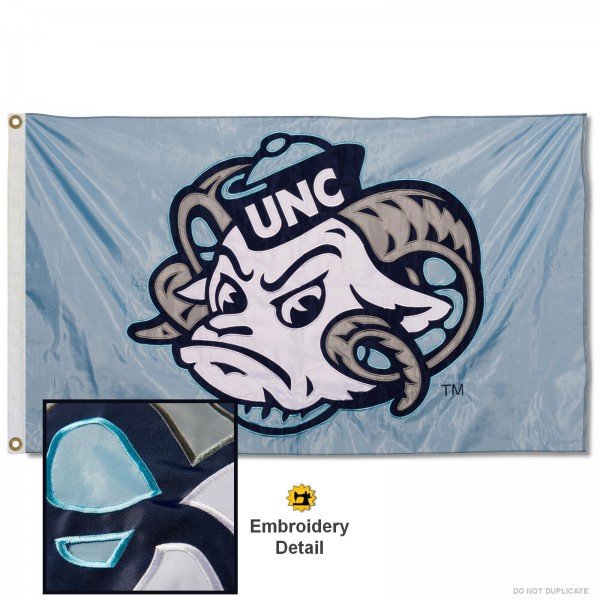 North Carolina Tar Heels Ramses Nylon Embroidered Flag measures 3'x5', is made of 100% nylon, has quadruple flyends, two metal grommets, and has double sided appliqued and embroidered University logos. These North Carolina Tar Heels 3x5 Flags are officially licensed by the selected university and the NCAA.