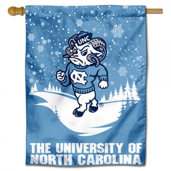 "North Carolina Tar Heels Snowflake House Flag is a double sided vertical house flag which measures 30"" x 40"" inches, is made of thick 100% polyester, offers screen printed NCAA team insignias, and has a top pole sleeve to hang vertically. Our North Carolina Tar Heels Snowflake House Flag is officially licensed by the selected university and the NCAA and is double sided."