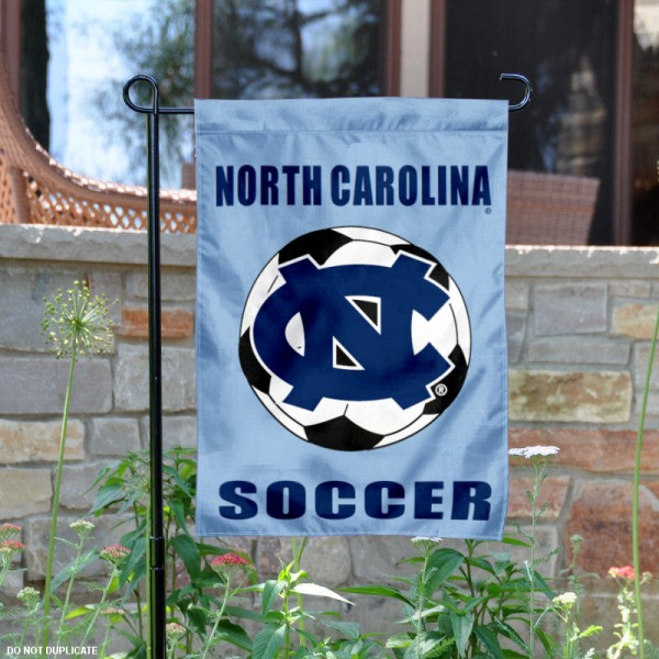North Carolina Tar Heels Soccer Yard Flag is 13x18 inches in size, is made of 2-layer polyester, screen printed UNC Tar Heel Soccer athletic logos and lettering. Available with Same Day Express Shipping, Our North Carolina Tar Heels Soccer Yard Flag is officially licensed and approved by UNC Tar Heel Soccer and the NCAA.