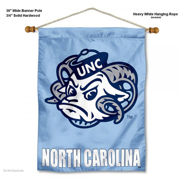 "North Carolina Tar Heels Wall Banner is constructed of polyester material, measures a large 30""x40"", offers screen printed athletic logos, and includes a sturdy 3/4"" diameter and 36"" wide banner pole and hanging cord. Our North Carolina Tar Heels Wall Banner is Officially Licensed by the selected college and NCAA."