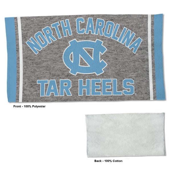 North Carolina Tar Heels Workout Exercise Towel measures 22x42 inches, is made of 100% Polyester on the front and 100% Cotton on the back, has double stitched sewing perimeter, and Graphics and Logos, as shown. Our North Carolina Tar Heels Workout Exercise Towel is officially licensed by the selected university and the NCAA. Also, machine washable and dryer safe.