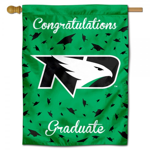North Dakota Fighting Hawks Congratulations Graduate Flag measures 30x40 inches, is made of poly, has a top hanging sleeve, and offers dye sublimated North Dakota Fighting Hawks logos. This Decorative North Dakota Fighting Hawks Congratulations Graduate House Flag is officially licensed by the NCAA.