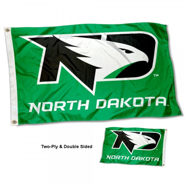 North Dakota Fighting Hawks Double Sided Flag measures 3'x5', is made of 2 layer 100% polyester, has quadruple stitched flyends for durability, and is readable correctly on both sides. Our North Dakota Fighting Hawks Double Sided Flag is officially licensed by the university, school, and the NCAA.