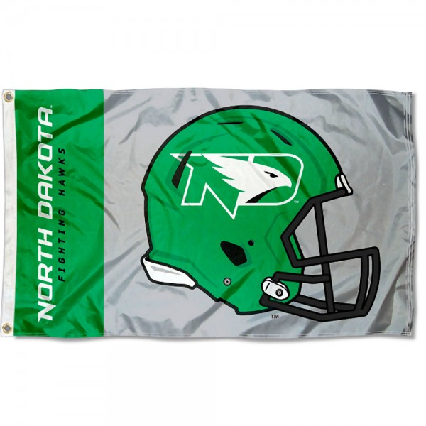 North Dakota Fighting Hawks Football Helmet Flag measures 3x5 feet, is made of 100% polyester, offers quadruple stitched flyends, has two metal grommets, and offers screen printed NCAA team logos and insignias. Our North Dakota Fighting Hawks Football Helmet Flag is officially licensed by the selected university and NCAA.