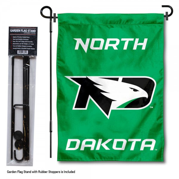 """North Dakota Fighting Hawks Garden Flag and Pole Stand Mount kit includes our 13""""x18"""" garden banner which is made of 2 ply poly with liner and has screen printed licensed logos. Also, a 40""""x17"""" inch garden flag stand is included so your North Dakota Fighting Hawks Garden Flag and Pole Stand Mount is ready to be displayed with no tools needed for setup. Fast Overnight Shipping is offered and the flag is Officially Licensed and Approved by the selected team."""