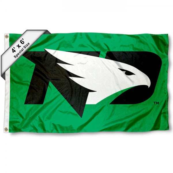 North Dakota Fighting Hawks Large 4x6 Flag measures 4x6 feet, is made thick woven polyester, has quadruple stitched flyends, two metal grommets, and offers screen printed NCAA North Dakota Fighting Hawks Large athletic logos and insignias. Our North Dakota Fighting Hawks Large 4x6 Flag is officially licensed by North Dakota Fighting Hawks and the NCAA.