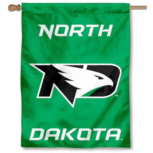 North Dakota Fighting Hawks Logo Double Sided House Flag is a vertical house flag which measures 30x40 inches, is made of 2 ply 100% polyester, offers screen printed NCAA team insignias, and has a top pole sleeve to hang vertically. Our North Dakota Fighting Hawks Logo Double Sided House Flag is officially licensed by the selected university and the NCAA.