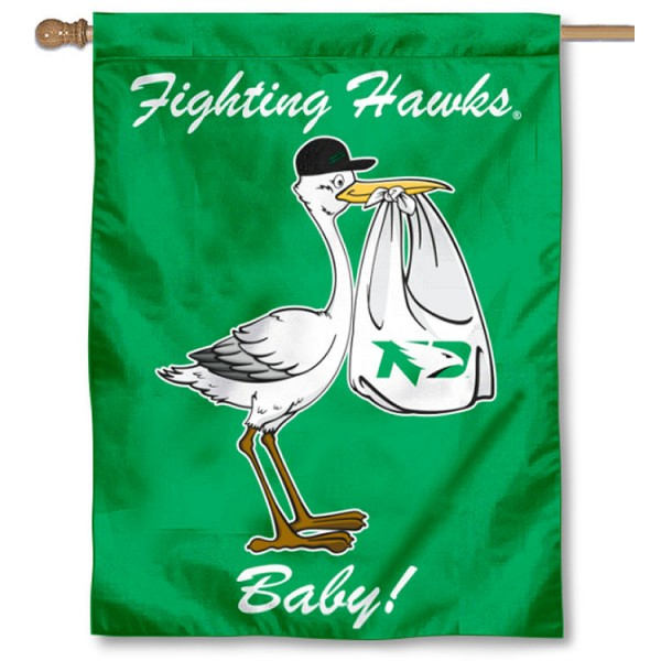 North Dakota Fighting Hawks New Baby Flag measures 30x40 inches, is made of poly, has a top hanging sleeve, and offers dye sublimated North Dakota Fighting Hawks logos. This Decorative North Dakota Fighting Hawks New Baby House Flag is officially licensed by the NCAA.