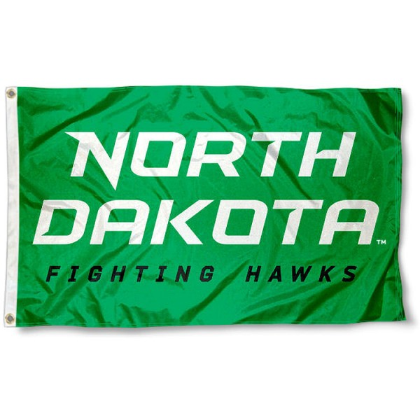 North Dakota Fighting Hawks New Wordmark Flag measures 3x5 feet, is made of 100% polyester, offers quadruple stitched flyends, has two metal grommets, and offers screen printed NCAA team logos and insignias. Our North Dakota Fighting Hawks New Wordmark Flag is officially licensed by the selected university and NCAA.