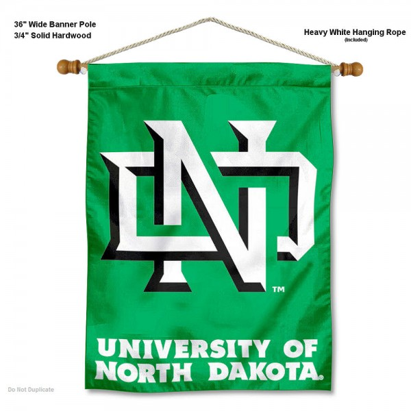 "North Dakota Fighting Hawks Wall Banner is constructed of polyester material, measures a large 30""x40"", offers screen printed athletic logos, and includes a sturdy 3/4"" diameter and 36"" wide banner pole and hanging cord. Our North Dakota Fighting Hawks Wall Banner is Officially Licensed by the selected college and NCAA."
