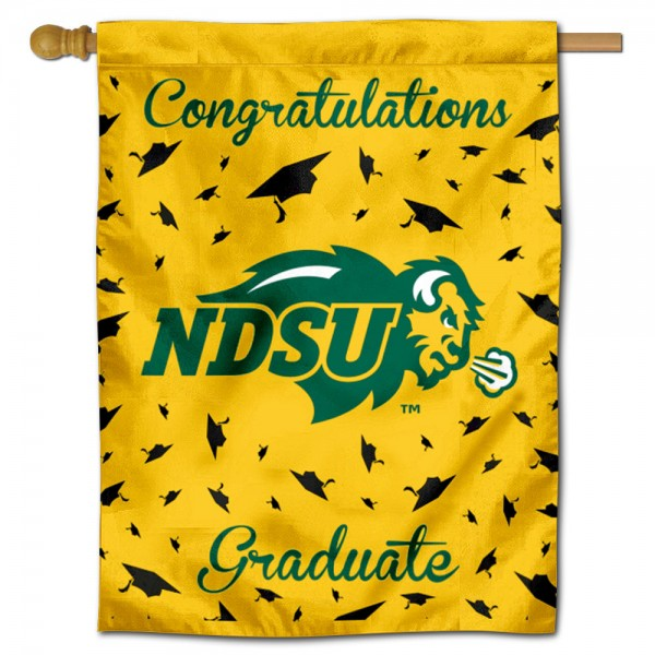 North Dakota State Bison Congratulations Graduate Flag measures 30x40 inches, is made of poly, has a top hanging sleeve, and offers dye sublimated North Dakota State Bison logos. This Decorative North Dakota State Bison Congratulations Graduate House Flag is officially licensed by the NCAA.