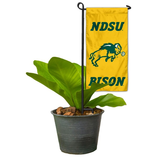 "North Dakota State Bison Flower Pot Topper Flag kit includes our 4""x8"" mini garden banner and 6"" x 14"" mini garden banner stand. The mini flag is made of 1-ply polyester, has screen printed logos and the garden stand is made of steel and powder coated black. This kit is NCAA Officially Licensed by the selected college or university."