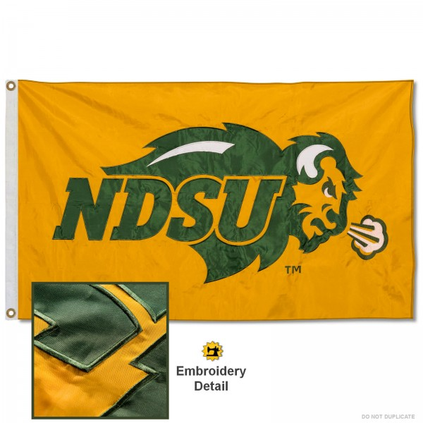 North Dakota State Bison Gold Nylon Embroidered Flag measures 3'x5', is made of 100% nylon, has quadruple flyends, two metal grommets, and has double sided appliqued and embroidered University logos. These North Dakota State Bison 3x5 Flags are officially licensed by the selected university and the NCAA.