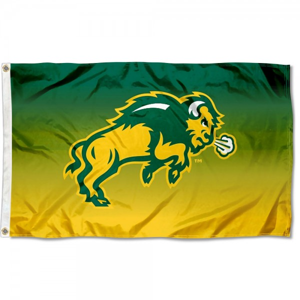 North Dakota State Bison Gradient Ombre Flag measures 3x5 feet, is made of 100% polyester, offers quadruple stitched flyends, has two metal grommets, and offers screen printed NCAA team logos and insignias. Our North Dakota State Bison Gradient Ombre Flag is officially licensed by the selected university and NCAA.