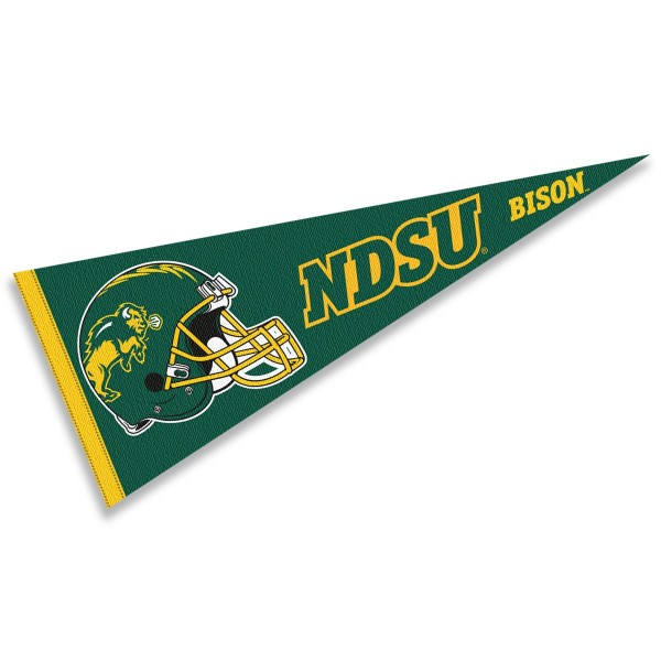 North Dakota State Bison Helmet Pennant consists of our full size sports pennant which measures 12x30 inches, is constructed of felt, is single sided imprinted, and offers a pennant sleeve for insertion of a pennant stick, if desired. This North Dakota State Bison Pennant Decorations is Officially Licensed by the selected university and the NCAA.