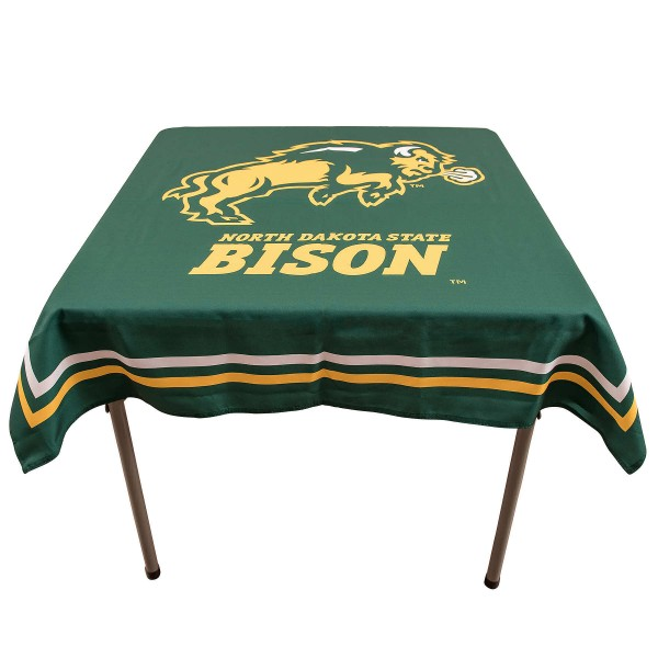 North Dakota State Bison Table Cloth measures 48 x 48 inches, is made of 100% Polyester, seamless one-piece construction, and is perfect for any tailgating table, card table, or wedding table overlay. Each includes Officially Licensed Logos and Insignias.