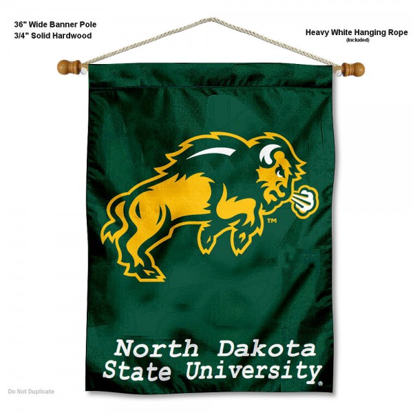 "North Dakota State Bison Wall Banner is constructed of polyester material, measures a large 30""x40"", offers screen printed athletic logos, and includes a sturdy 3/4"" diameter and 36"" wide banner pole and hanging cord. Our North Dakota State Bison Wall Banner is Officially Licensed by the selected college and NCAA."