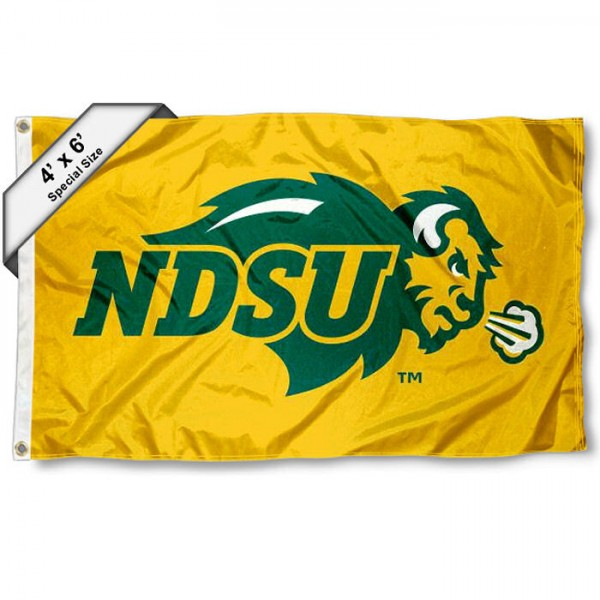 North Dakota State Large 4x6 Flag measures 4x6 feet, is made thick woven polyester, has quadruple stitched flyends, two metal grommets, and offers screen printed NCAA North Dakota State Large athletic logos and insignias. Our North Dakota State Large 4x6 Flag is officially licensed by North Dakota State and the NCAA.