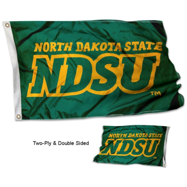 North Dakota State NDSU Double Sided 3x5 Flag measures 3'x5', is made of 2 layer 100% polyester, has quadruple stitched flyends for durability, and is readable correctly on both sides. Our North Dakota State NDSU Double Sided 3x5 Flag is officially licensed by the university, school, and the NCAA.