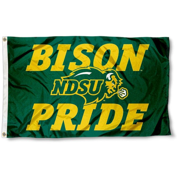 North Dakota State Pride Flag measures 3'x5', is made of 100% poly, has quadruple stitched sewing, two metal grommets, and has double sided North Dakota State Bison logos. Our North Dakota State Pride Flag is officially licensed by North Dakota State Bison and the NCAA.