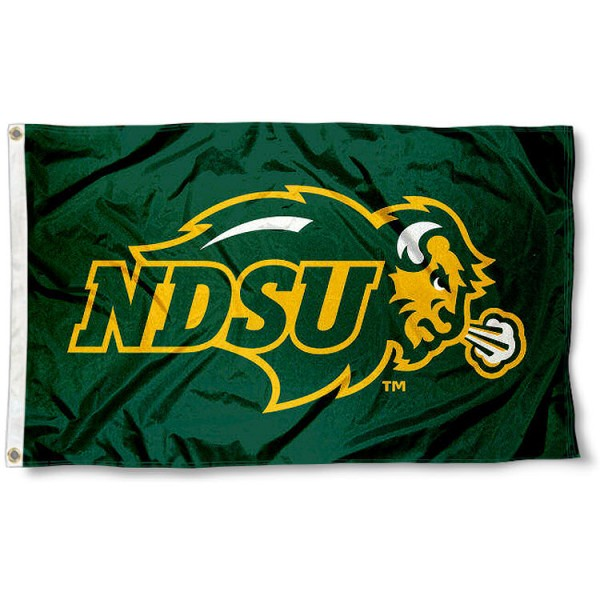 North Dakota State University Polyester Flag measures 3'x5', is made of 100% poly, has quadruple stitched sewing, two metal grommets, and has double sided North Dakota State University logos. Our North Dakota State University Polyester Flag is officially licensed by the selected university and the NCAA