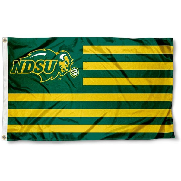 North Dakota State University Striped Flag measures 3'x5', is made of polyester, offers double stitched flyends for durability, has two metal grommets, and is viewable from both sides with a reverse image on the opposite side. Our North Dakota State University Striped Flag is officially licensed by the selected school university and the NCAA.