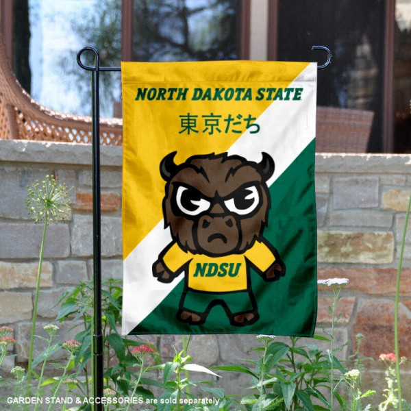 North Dakota State University Tokyodachi Mascot Yard Flag is 13x18 inches in size, is made of double layer polyester, screen printed university athletic logos and lettering, and is readable and viewable correctly on both sides. Available same day shipping, our North Dakota State University Tokyodachi Mascot Yard Flag is officially licensed and approved by the university and the NCAA.