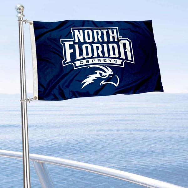 North Florida Ospreys Boat and Mini Flag is 12x18 inches, polyester, offers quadruple stitched flyends for durability, has two metal grommets, and is double sided. Our mini flags for North Florida Ospreys are licensed by the university and NCAA and can be used as a boat flag, motorcycle flag, golf cart flag, or ATV flag.