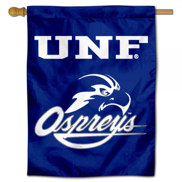 North Florida Ospreys Logo Double Sided House Flag is a vertical house flag which measures 30x40 inches, is made of 2 ply 100% polyester, offers screen printed NCAA team insignias, and has a top pole sleeve to hang vertically. Our North Florida Ospreys Logo Double Sided House Flag is officially licensed by the selected university and the NCAA.