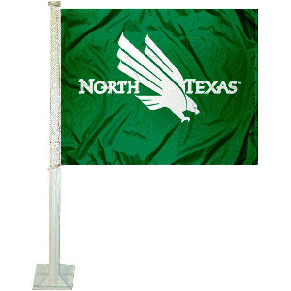 North Texas Mean Green Car Flag measures 12x15 inches, is constructed of sturdy 2 ply polyester, and has dye sublimated school logos which are readable and viewable correctly on both sides. North Texas Mean Green Car Flag is officially licensed by the NCAA and selected university.