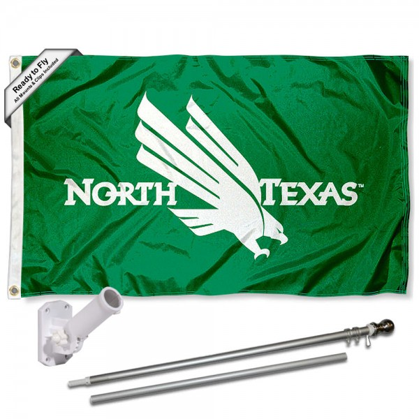 Our North Texas Mean Green Flag Pole and Bracket Kit includes the flag as shown and the recommended flagpole and flag bracket. The flag is made of polyester, has quad-stitched flyends, and the NCAA Licensed team logos are double sided screen printed. The flagpole and bracket are made of rust proof aluminum and includes all hardware so this kit is ready to install and fly.