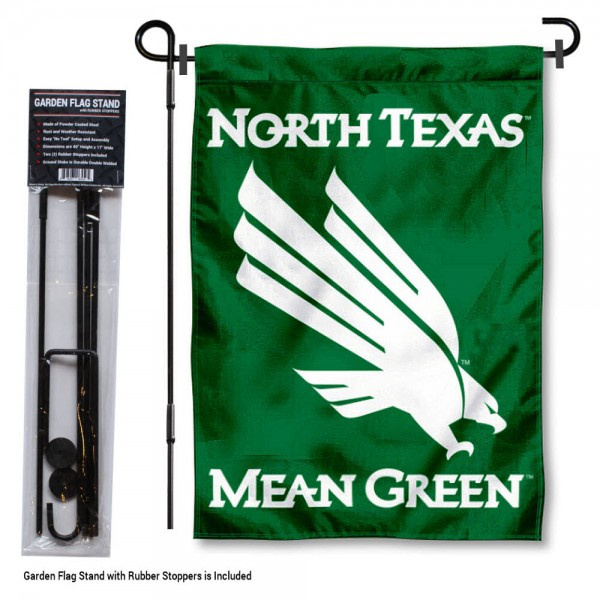 "North Texas Mean Green Garden Flag and Stand kit includes our 13""x18"" garden banner which is made of 2 ply poly with liner and has screen printed licensed logos. Also, a 40""x17"" inch garden flag stand is included so your North Texas Mean Green Garden Flag and Stand is ready to be displayed with no tools needed for setup. Fast Overnight Shipping is offered and the flag is Officially Licensed and Approved by the selected team."
