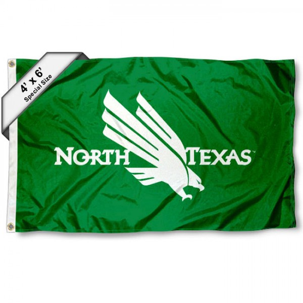 North Texas Mean Green Large 4x6 Flag measures 4x6 feet, is made thick woven polyester, has quadruple stitched flyends, two metal grommets, and offers screen printed NCAA North Texas Mean Green Large athletic logos and insignias. Our North Texas Mean Green Large 4x6 Flag is officially licensed by North Texas Mean Green and the NCAA.