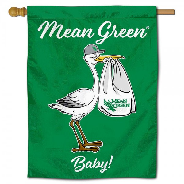 North Texas Mean Green New Baby Flag measures 30x40 inches, is made of poly, has a top hanging sleeve, and offers dye sublimated North Texas Mean Green logos. This Decorative North Texas Mean Green New Baby House Flag is officially licensed by the NCAA.