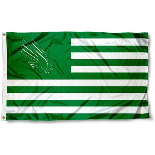 North Texas Mean Green Stripes Flag measures 3'x5', is made of polyester, offers double stitched flyends for durability, has two metal grommets, and is viewable from both sides with a reverse image on the opposite side. Our North Texas Mean Green Stripes Flag is officially licensed by the selected school university and the NCAA.