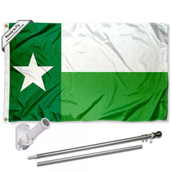 Our North Texas Mean Green TX State Flag Pole and Bracket Kit includes the flag as shown and the recommended flagpole and flag bracket. The flag is made of polyester, has quad-stitched flyends, and the NCAA Licensed team logos are double sided screen printed. The flagpole and bracket are made of rust proof aluminum and includes all hardware so this kit is ready to install and fly.