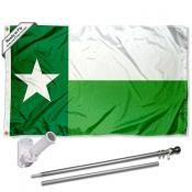 North Texas Mean Green TX State Flag Pole and Bracket Kit