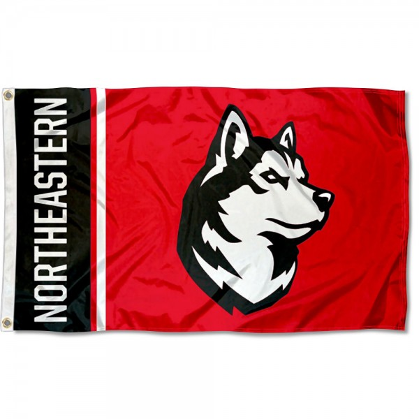 Northeastern Huskies New Husky Logo Flag is made of 100% nylon, offers quad stitched flyends, measures 3x5 feet, has two metal grommets, and is viewable from both side with the opposite side being a reverse image. Our Northeastern Huskies New Husky Logo Flag is officially licensed by the selected college and NCAA