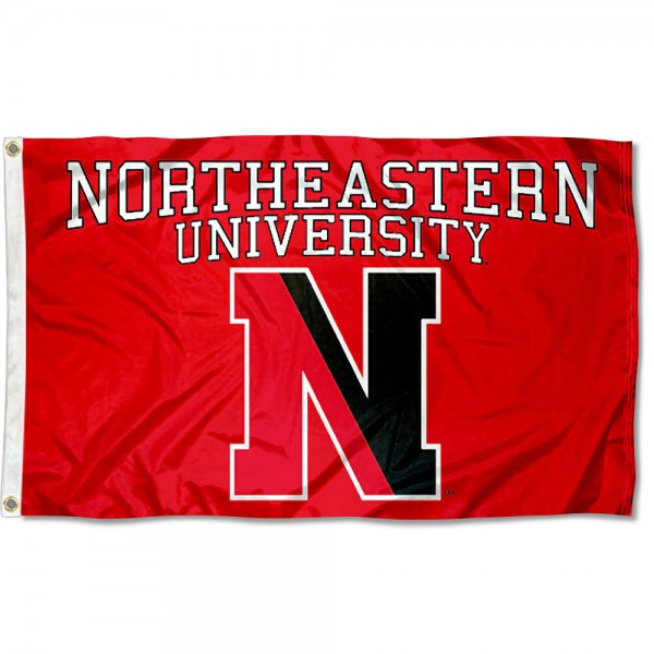 This Northeastern University Flag measures 3'x5', is made of 100% nylon, has quad-stitched sewn flyends, and has two-sided Northeastern University printed logos. Our Northeastern University Flag is officially licensed and all flags for Northeastern University are approved by the NCAA and Same Day UPS Express Shipping is available.