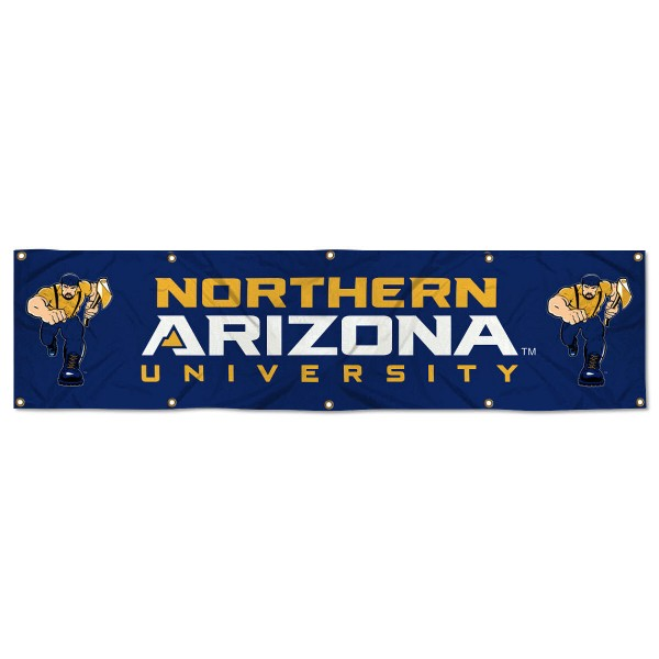 Northern Arizona Lumberjacks 8 Foot Large Banner measures 2x8 feet and displays Northern Arizona Lumberjacks logos. Our Northern Arizona Lumberjacks 8 Foot Large Banner is made of thick polyester and ten grommets around the perimeter for hanging securely. These banners for Northern Arizona Lumberjacks are officially licensed by the NCAA.