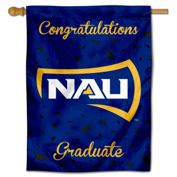 Northern Arizona Lumberjacks Congratulations Graduate Flag measures 30x40 inches, is made of poly, has a top hanging sleeve, and offers dye sublimated Northern Arizona Lumberjacks logos. This Decorative Northern Arizona Lumberjacks Congratulations Graduate House Flag is officially licensed by the NCAA.