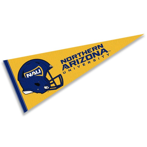 Northern Arizona Lumberjacks Helmet Pennant consists of our full size sports pennant which measures 12x30 inches, is constructed of felt, is single sided imprinted, and offers a pennant sleeve for insertion of a pennant stick, if desired. This Northern Arizona Lumberjacks Pennant Decorations is Officially Licensed by the selected university and the NCAA.